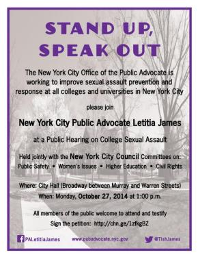Stand Up, Speak Out – Public Hearing